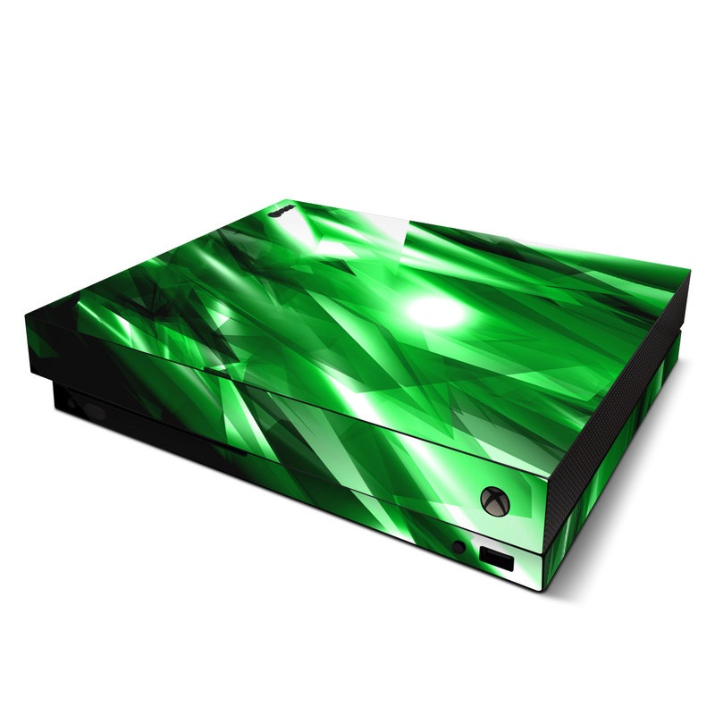 Xbox One X Skin design of Green, Light, Lighting, Leaf, Design, Technology, Space, Graphics, Graphic design, Illustration with black, green, white colors