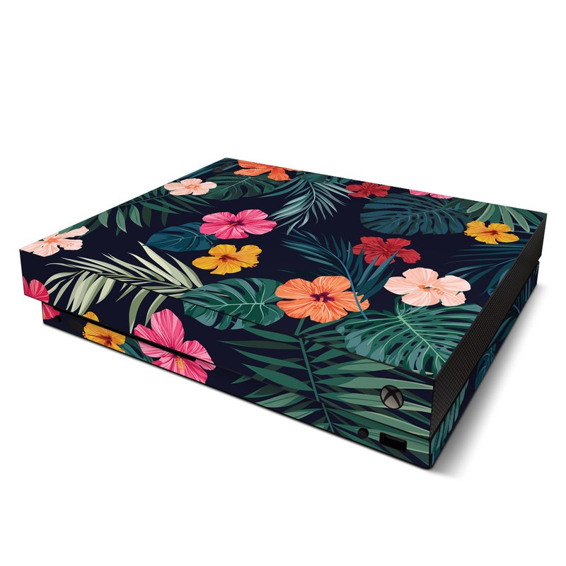 Xbox One X Skin design of Hawaiian hibiscus, Flower, Pattern, Plant, Leaf, Floral design, Botany, Design, Hibiscus, Petal with black, green, red, pink, orange, yellow, white colors