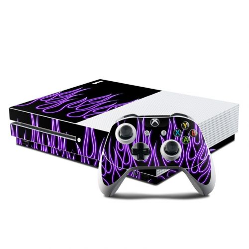 Purple Neon Flames Xbox One S Skin