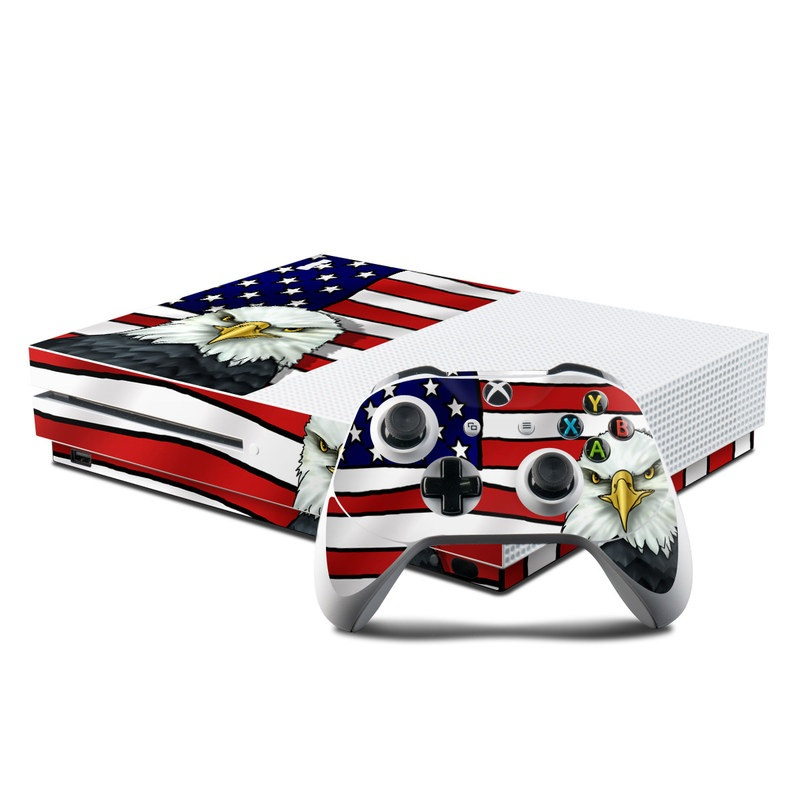 Xbox One S Skin design of Bald eagle, Eagle, Bird, Bird of prey, Accipitridae, Beak, Accipitriformes, Sea eagle, Flag with white, gray, blue, yellow, red colors