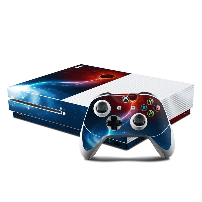 Xbox One S Skin design of Outer space, Atmosphere, Astronomical object, Universe, Space, Sky, Planet, Astronomy, Celestial event, Galaxy with blue, red, black colors