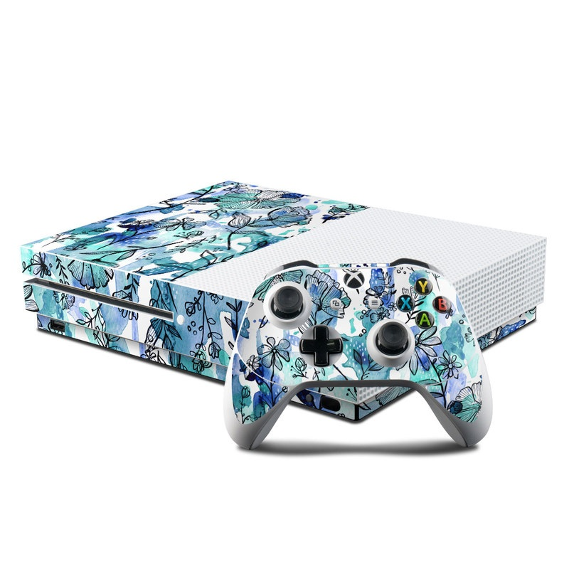 Xbox One S Skin design of Blue, Pattern, Turquoise, Aqua, Design, Textile, Wildflower, Plant, Wrapping paper, Gift wrapping with blue, white, black, purple colors