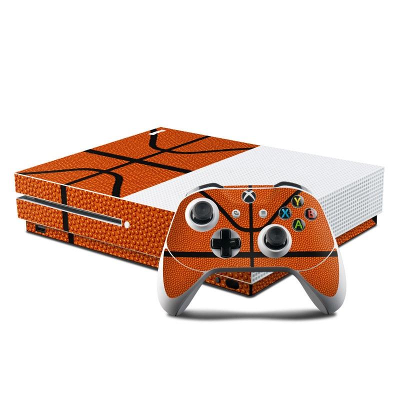 Xbox One S Skin design of Orange, Basketball, Line, Pattern, Sport venue, Brown, Yellow, Design, Net, Team sport with orange, black colors