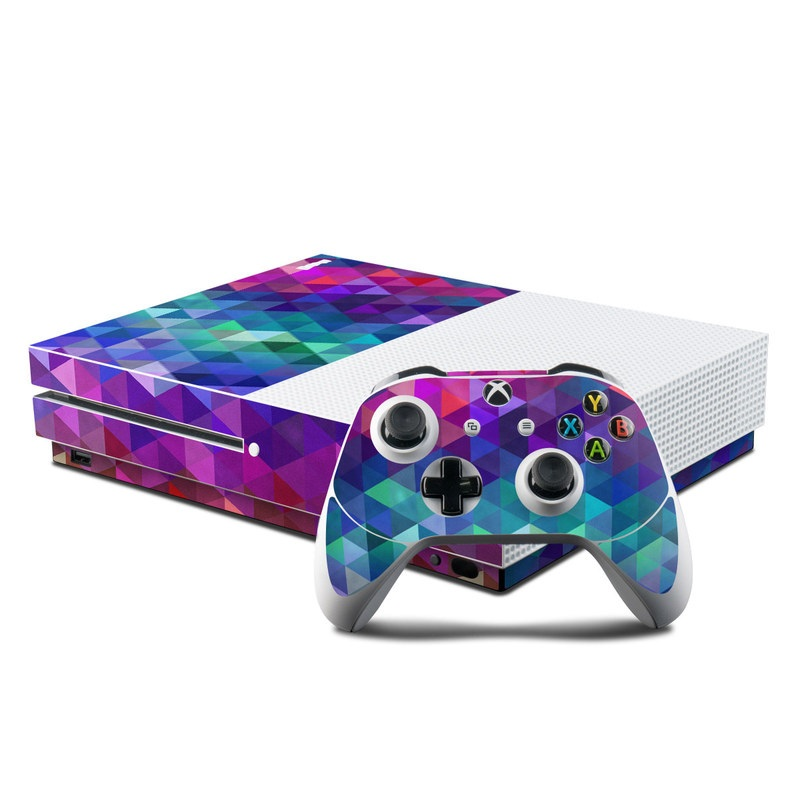 Xbox One S Skin design of Purple, Violet, Pattern, Blue, Magenta, Triangle, Line, Design, Graphic design, Symmetry with blue, purple, green, red, pink colors