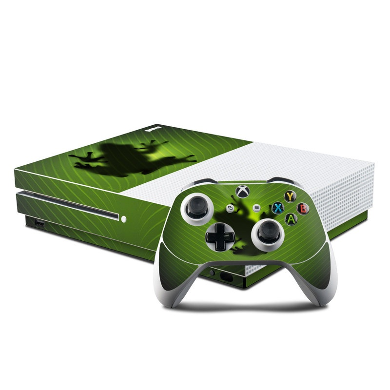 Xbox One S Skin design of Green, Frog, Tree frog, Amphibian, Shadow, Silhouette, Macro photography, Illustration with green, black colors