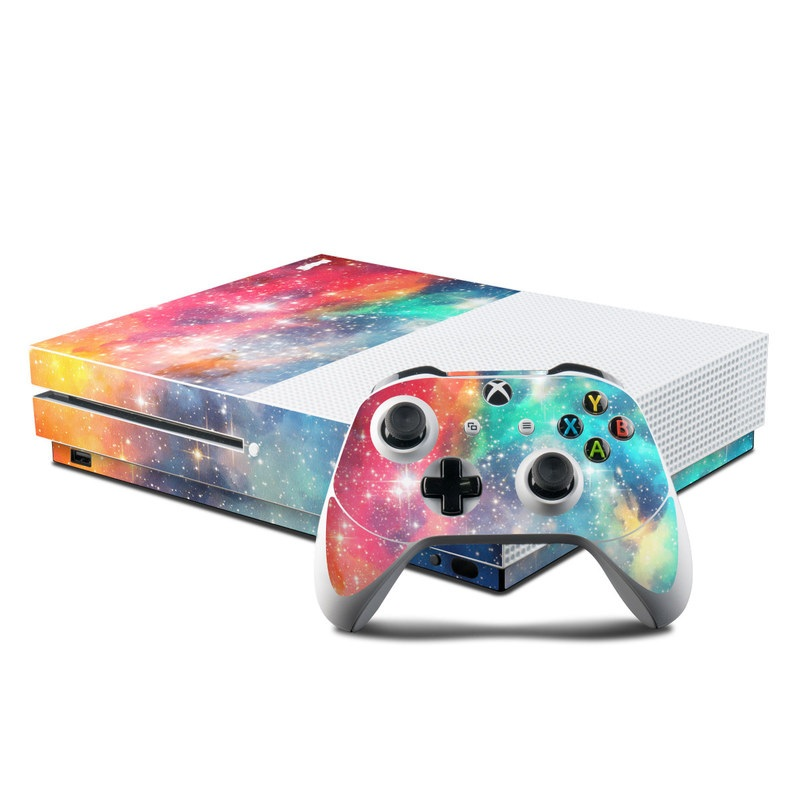 Xbox One S Skin design of Nebula, Sky, Astronomical object, Outer space, Atmosphere, Universe, Space, Galaxy, Celestial event, Star with white, black, red, orange, yellow, blue colors