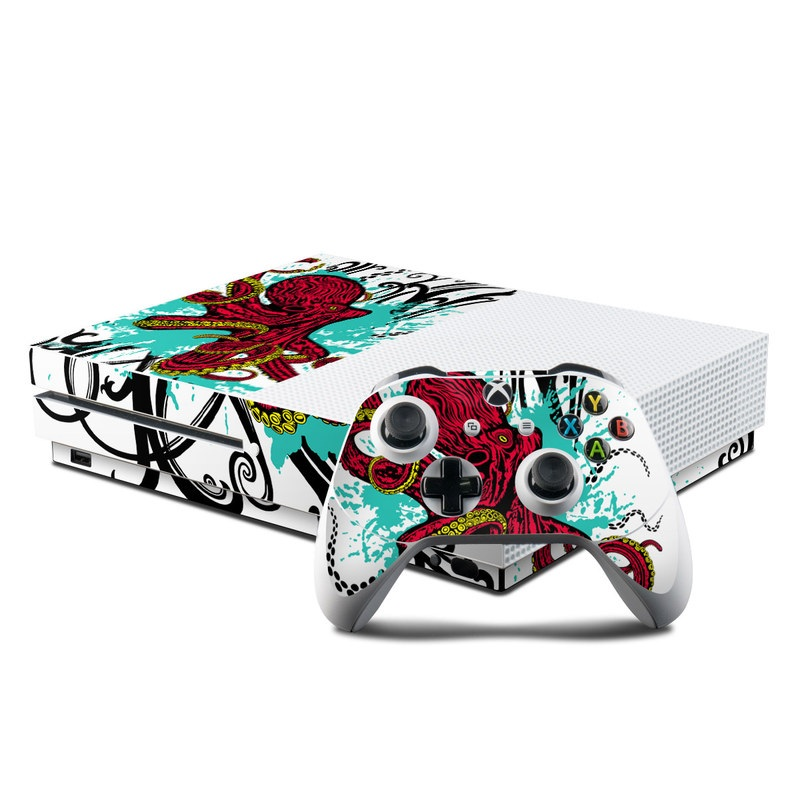 Xbox One S Skin design of Graphic design, Illustration, Visual arts, Octopus, Design, Art, Fictional character, Pattern, Clip art, Line art with black, white, gray, red, blue, green colors