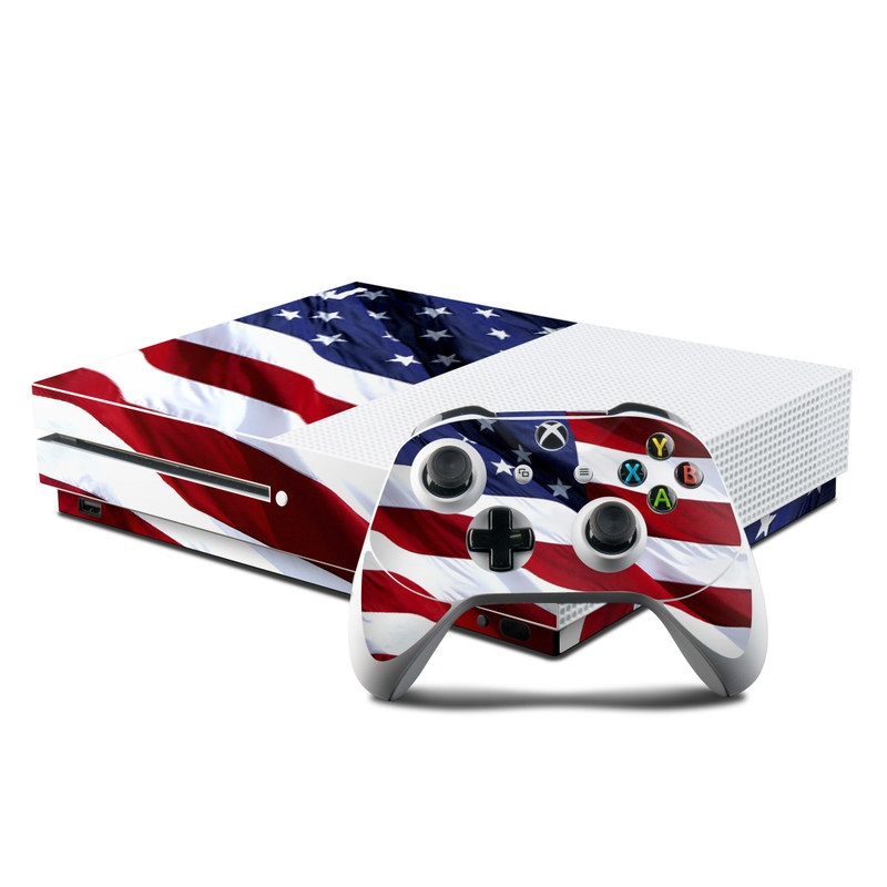 Xbox One S Skin design of Flag, Flag of the united states, Flag Day (USA), Veterans day, Memorial day, Holiday, Independence day, Event with red, blue, white colors