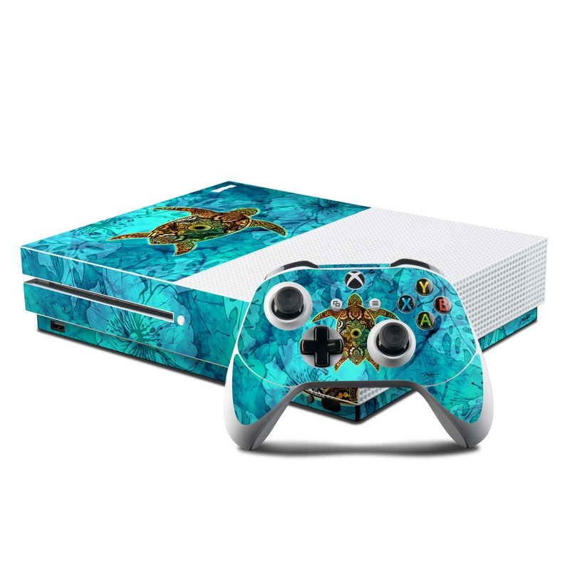 Xbox One S Skin design of Sea turtle, Green sea turtle, Turtle, Hawksbill sea turtle, Tortoise, Reptile, Loggerhead sea turtle, Illustration, Art, Pattern with blue, black, green, gray, red colors