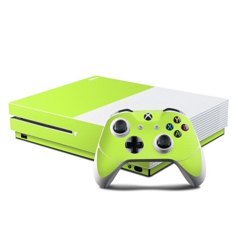 Xbox One S Skin design of Green, Yellow, Text, Leaf, Font, Grass with green colors