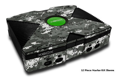 Old Xbox Skin design of Military camouflage, Pattern, Camouflage, Design, Uniform, Metal, Black-and-white with black, gray colors