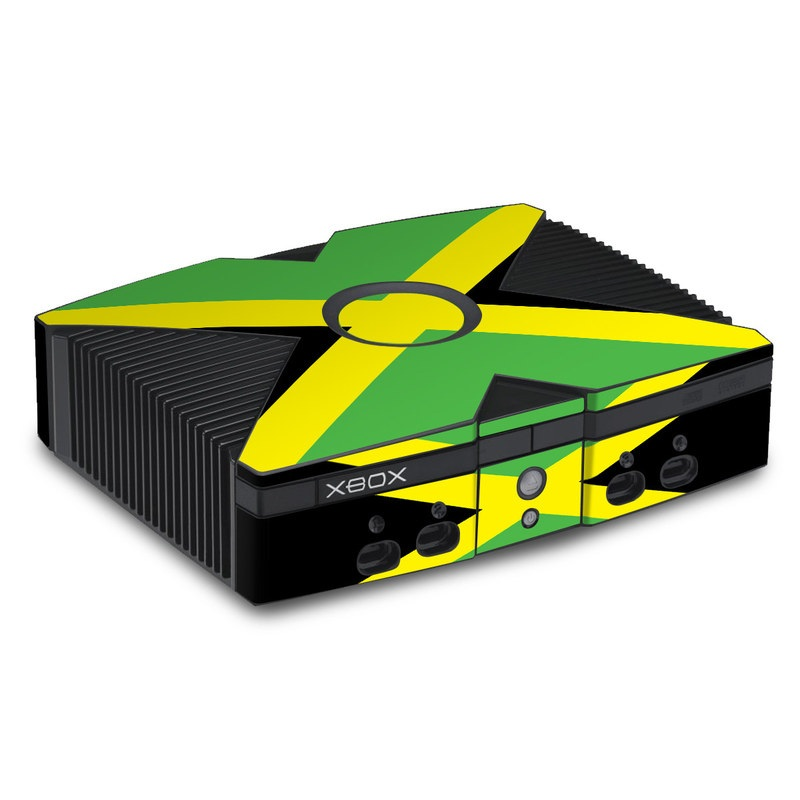 Old Xbox Skin design of Green, Flag, Yellow, Macro photography, Graphics, Graphic design with black, green, yellow colors