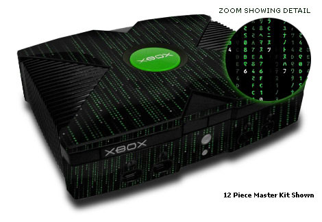 Old Xbox Skin design of Green, Black, Pattern, Symmetry with black colors