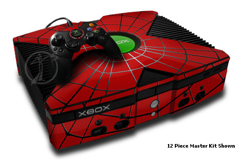 Old Xbox Skin design of Red, Symmetry, Circle, Pattern, Line with red, black, gray colors