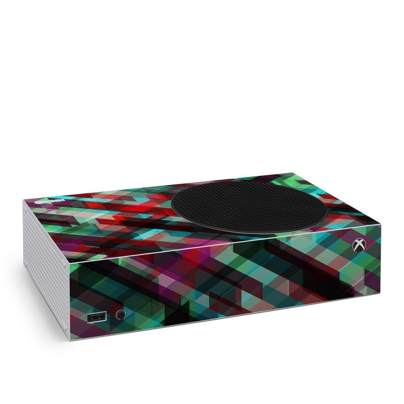 Xbox Series S Skin design of Green, Pattern, Magenta, Purple, Orange, Line, Design, Textile, Plaid with black, red, green, blue, gray colors