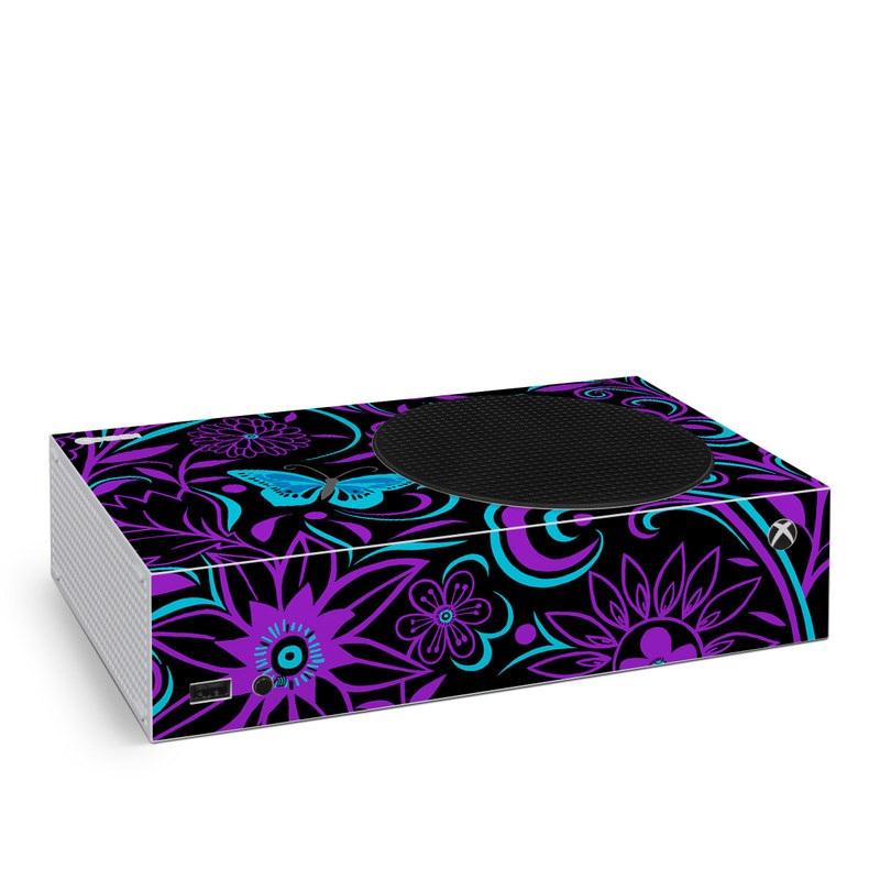 Xbox Series S Skin design of Pattern, Purple, Violet, Turquoise, Teal, Design, Floral design, Visual arts, Magenta, Motif with black, purple, blue colors