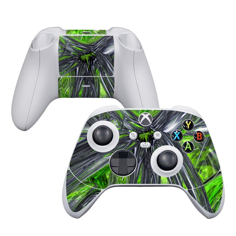Xbox Series S Controller Skin design of Green, Tree, Leaf, Plant, Grass, Terrestrial plant, Botany, Woody plant, Arecales, Vascular plant with green, gray, black colors