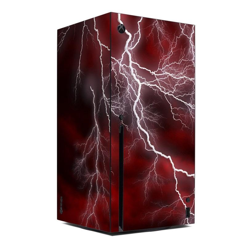 Xbox Series X Skin design of Thunder, Thunderstorm, Lightning, Red, Nature, Sky, Atmosphere, Geological phenomenon, Lighting, Atmospheric phenomenon with red, black, white colors