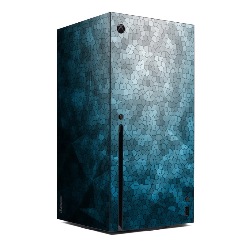Xbox Series X Skin design of Blue, Aqua, Turquoise, Green, Water, Teal, Sky, Azure, Pattern, Atmosphere with blue, white, gray colors