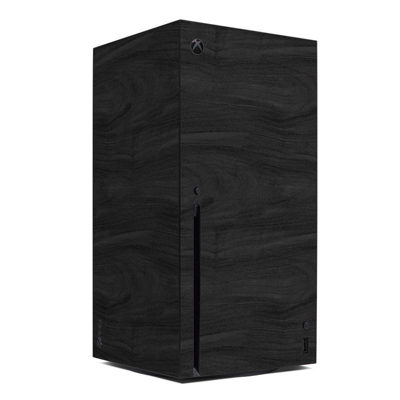 Xbox Series X Skin design of Black, Brown, Wood, Grey, Flooring, Floor, Laminate flooring, Wood flooring with black colors