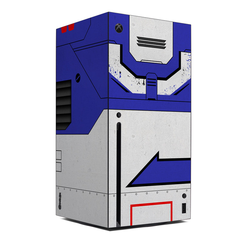 Xbox Series X Skin design of Floppy disk, Technology, Electric blue, Fictional character with white, blue, black, gray colors
