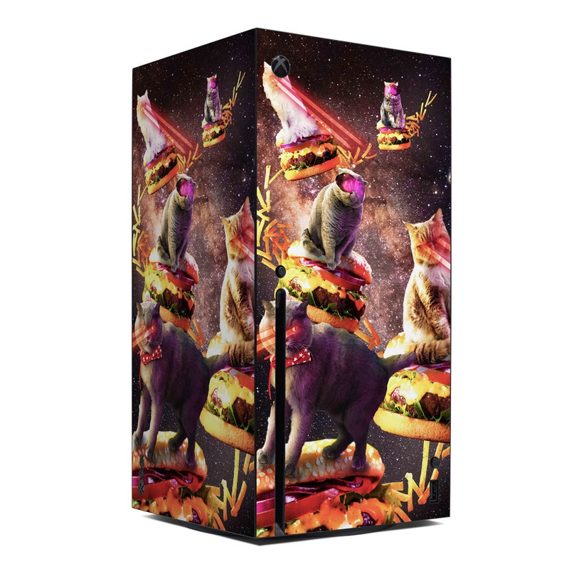 Xbox Series X Skin design of Circus, Performance, Event, Graphic design, Art, Illustration, Fictional character with black, white, purple, brown, gray, yellow, green colors