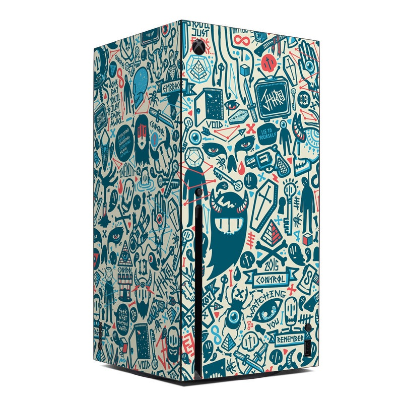Xbox Series X Skin design of Pattern, Psychedelic art, Turquoise, Art, Design, Visual arts, Line, Drawing, Doodle, Graphic design with white, green, blue, red colors