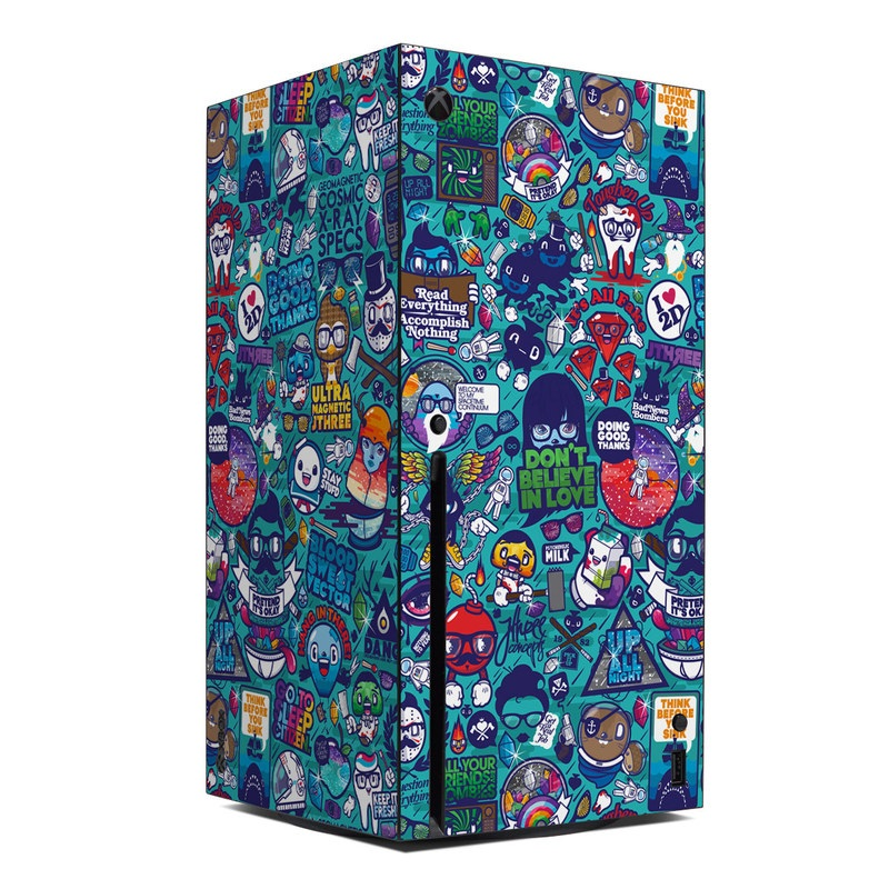 Xbox Series X Skin design of Art, Visual arts, Illustration, Graphic design, Psychedelic art with blue, black, gray, red, green colors