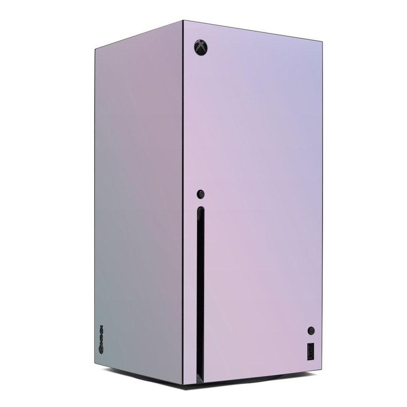 Xbox Series X Skin design of White, Blue, Daytime, Sky, Atmospheric phenomenon, Atmosphere, Calm, Line, Haze, Fog with pink, purple, blue colors
