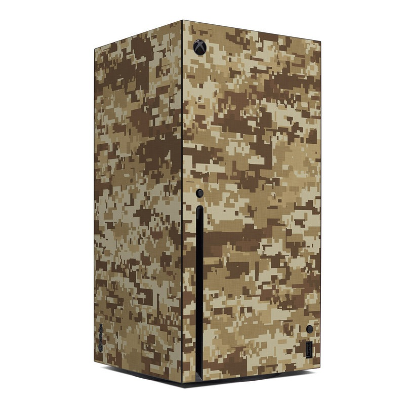 Xbox Series X Skin design of Military camouflage, Brown, Pattern, Camouflage, Wall, Beige, Design, Textile, Uniform, Flooring with brown colors