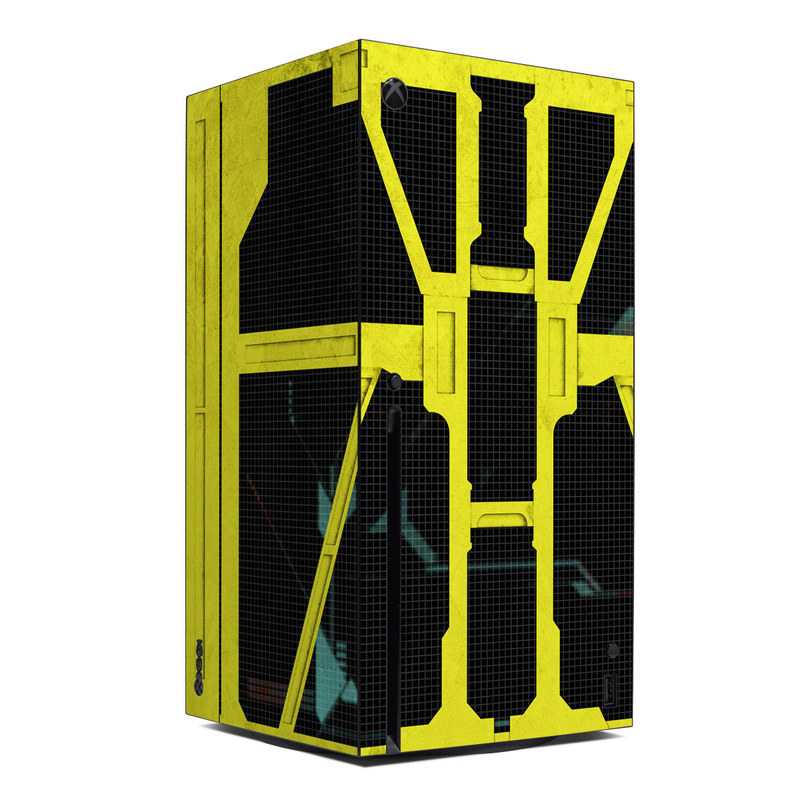Xbox Series X Skin design of Yellow, Green, Font, Pattern, Graphic design with black, yellow, gray, blue, green colors
