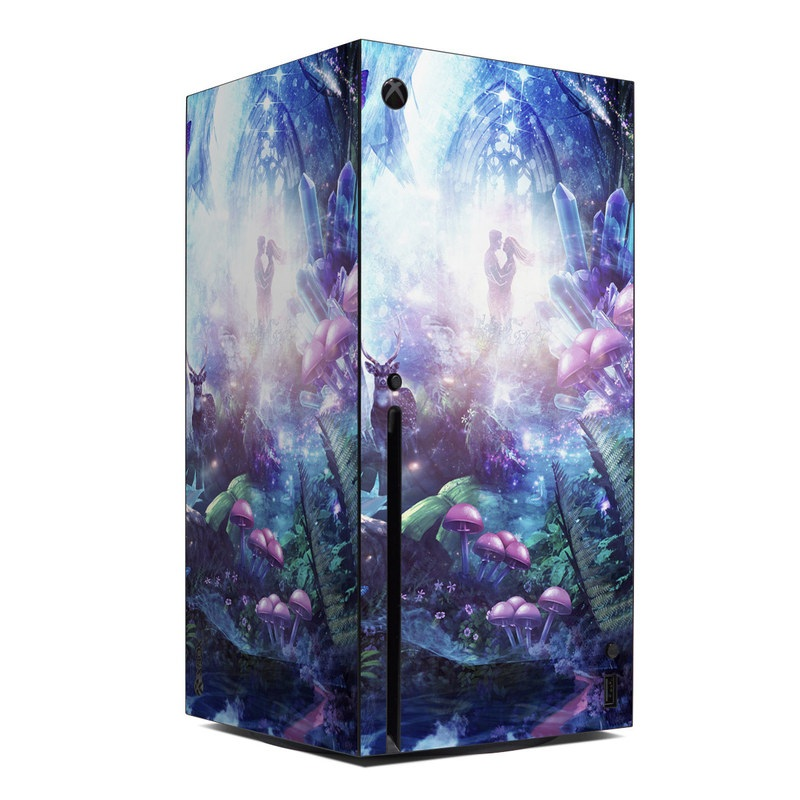 Xbox Series X Skin design of Man, Woman, Fictional Character, Mythology, Bird, Wing, Mythical Creature, Deer, Tiger, Mushrooms, Butterfly with white, blue, green, red, yellow, black, purple, gray colors