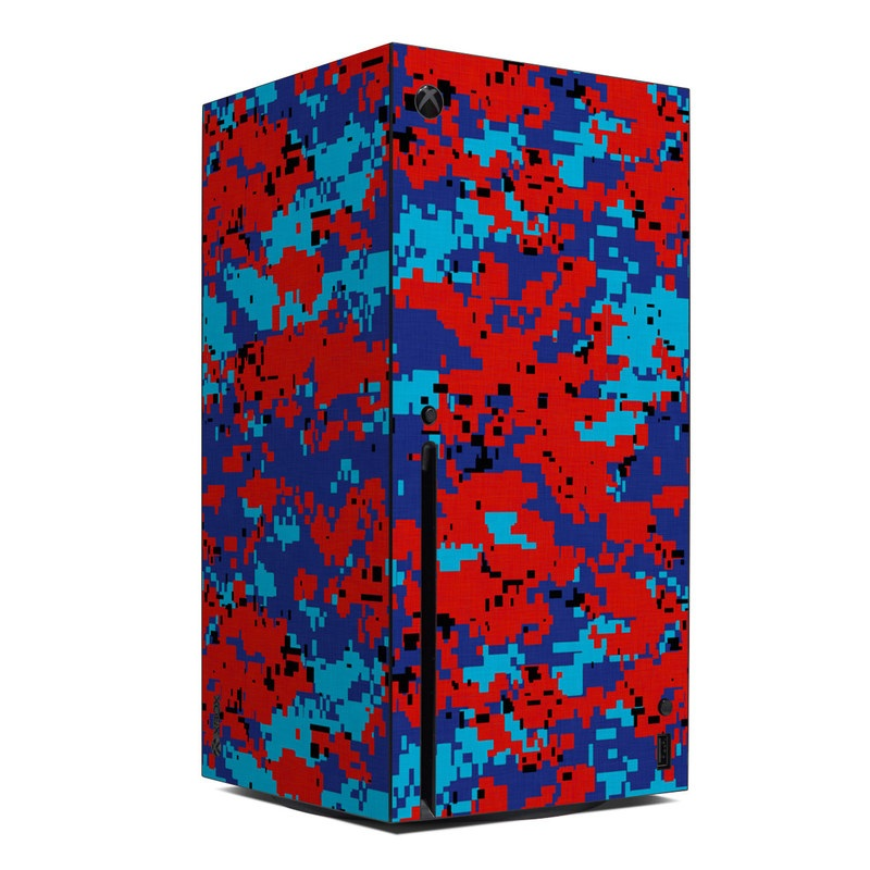 Xbox Series X Skin design of Blue, Red, Pattern, Textile, Electric blue with blue, red colors