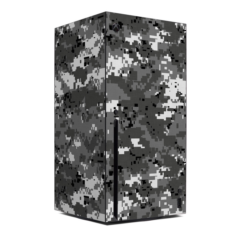 Xbox Series X Skin design of Military camouflage, Pattern, Camouflage, Design, Uniform, Metal, Black-and-white with black, gray colors