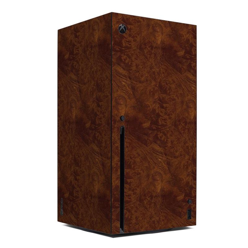 Xbox Series X Skin design of Brown, Wood, Wood flooring, Caramel color, Pattern, Hardwood, Wood stain, Flooring, Floor, Plywood with brown colors
