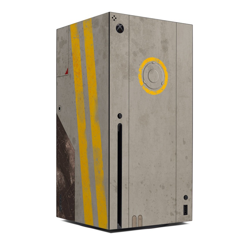 Xbox Series X Skin design of Yellow, Wall, Line, Orange, Design, Concrete, Font, Architecture, Parallel, Wood with gray, yellow, red, black colors