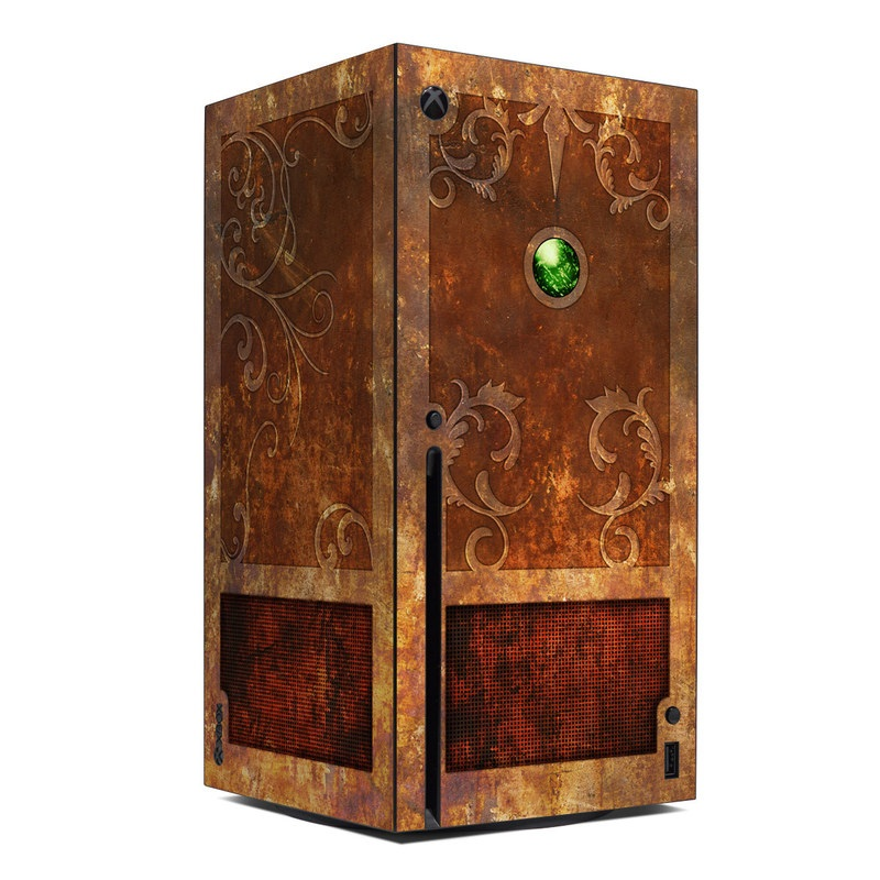 Xbox Series X Skin design with brown, red, yellow, green, orange colors