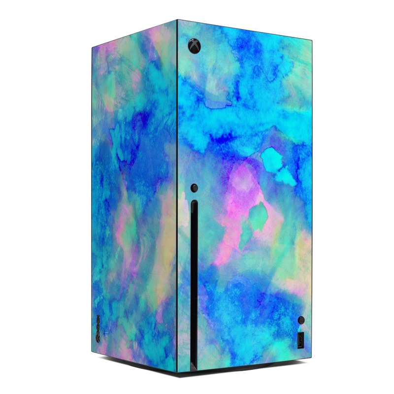 Xbox Series X Skin design of Blue, Turquoise, Aqua, Pattern, Dye, Design, Sky, Electric blue, Art, Watercolor paint with blue, purple colors