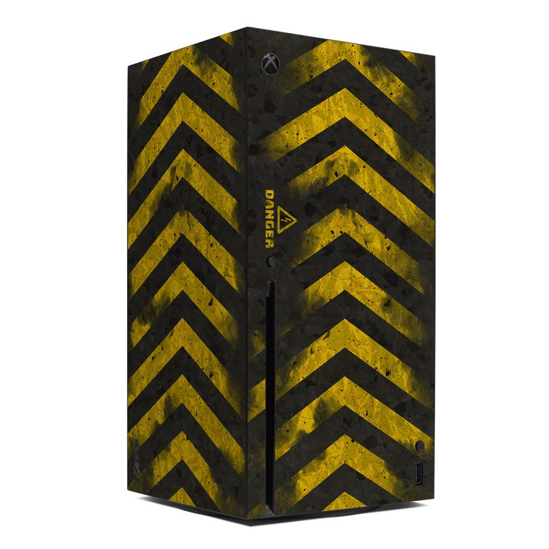 Xbox Series X Skin design of Colorfulness, Road surface, Yellow, Rectangle, Asphalt, Font, Material property, Parallel, Tar, Tints and shades with black, gray, yellow colors