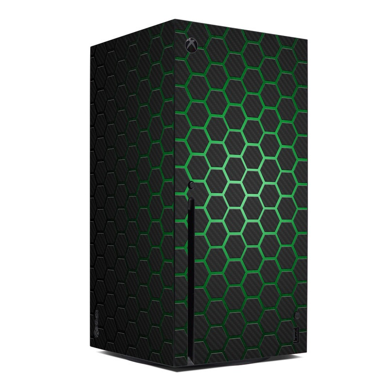 Xbox Series X Skin design of Pattern, Metal, Design, Carbon, Space, Circle with black, gray, green colors