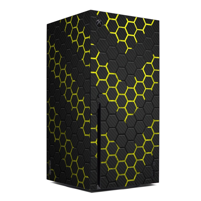 Xbox Series X Skin design of Black, Pattern, Yellow, Mesh, Net, Chain-link fencing, Design, Metal with black, gray, yellow colors
