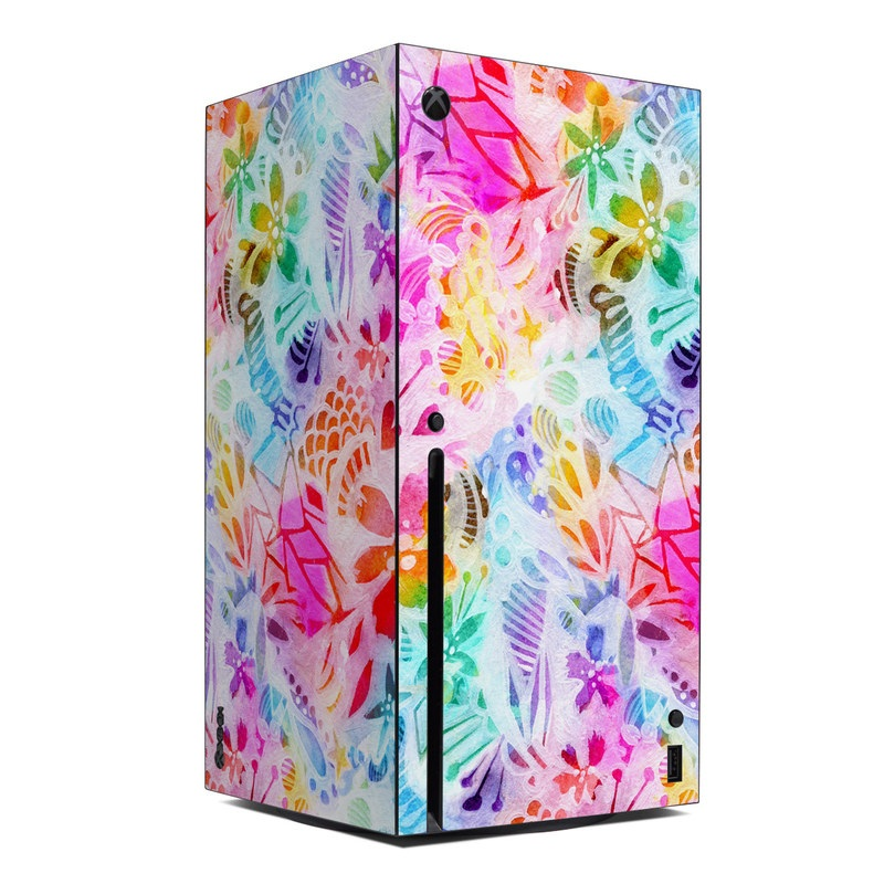 Xbox Series X Skin design of Pattern, Design, Textile, Art with gray, pink, purple, blue colors