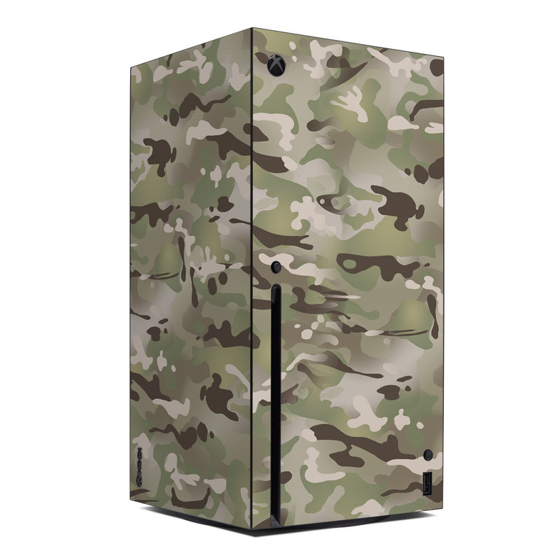 Xbox Series X Skin design of Military camouflage, Camouflage, Pattern, Clothing, Uniform, Design, Military uniform, Bed sheet with gray, green, black, red colors