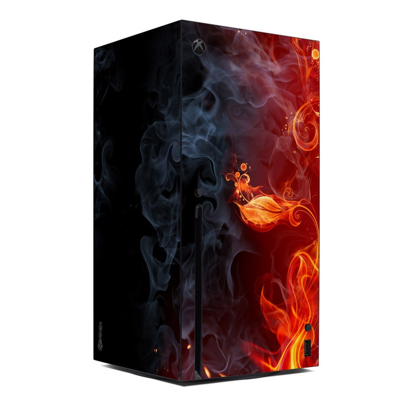 Xbox Series X Skin design of Flame, Fire, Heat, Red, Orange, Fractal art, Graphic design, Geological phenomenon, Design, Organism with black, red, orange colors