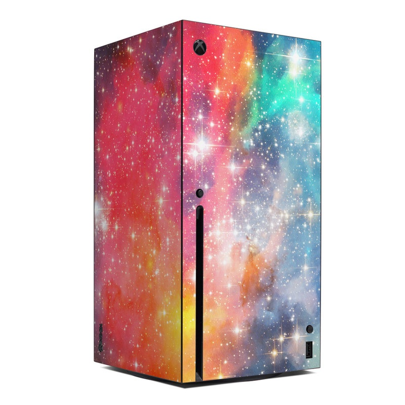 Xbox Series X Skin design of Nebula, Sky, Astronomical object, Outer space, Atmosphere, Universe, Space, Galaxy, Celestial event, Star with white, black, red, orange, yellow, blue colors