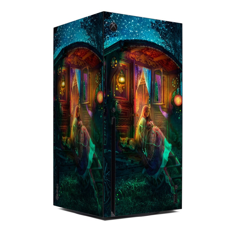 Xbox Series X Skin design of Illustration, Adventure game, Darkness, Art, Digital compositing, Fictional character, Games with black, red, blue, green colors
