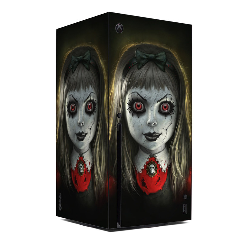 Xbox Series X Skin design of Fiction, Illustration, Fictional character, Ghost, Darkness, Vampire, Goth subculture, Zombie, Art, Skull with white, red, black, yellow colors
