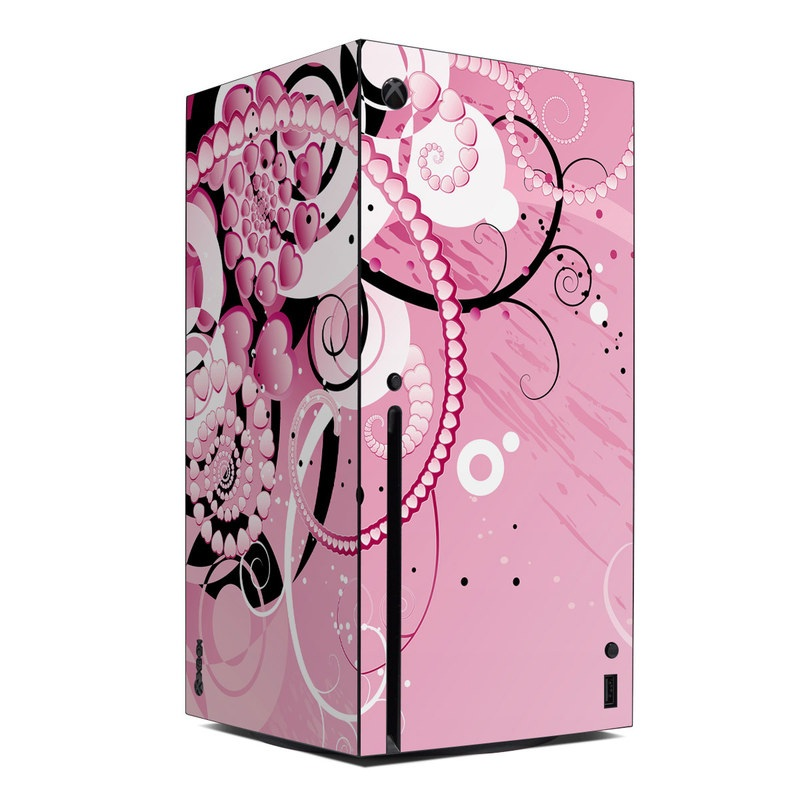 Xbox Series X Skin design of Pink, Floral design, Graphic design, Text, Design, Flower Arranging, Pattern, Illustration, Flower, Floristry with pink, gray, black, white, purple, red colors