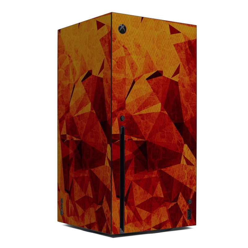 Xbox Series X Skin design of Orange, Red, Yellow, Triangle, Pattern, Amber, Design, Art, Visual arts, Modern art with black, orange, yellow colors
