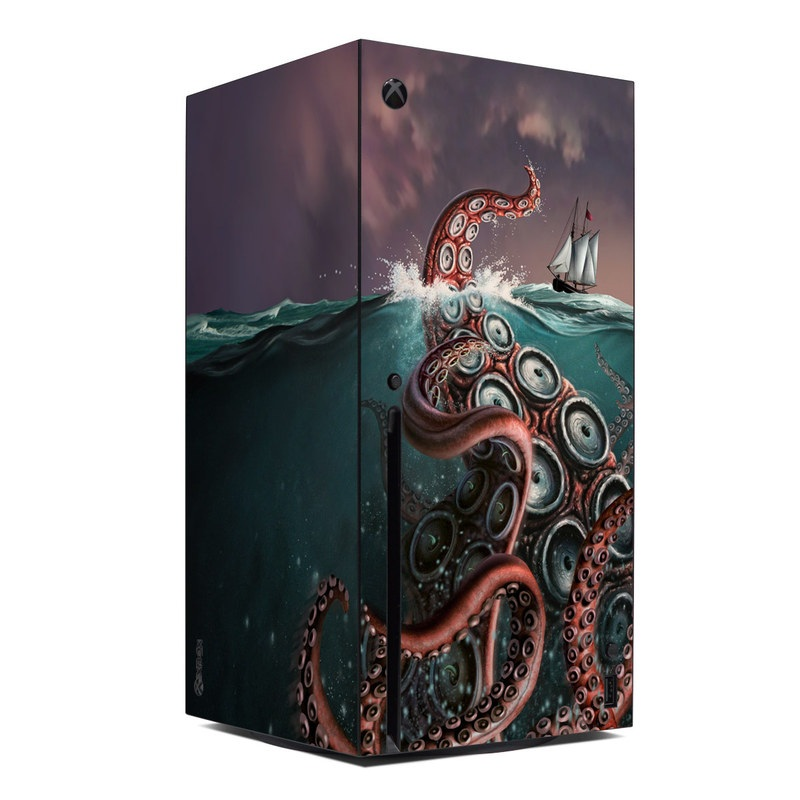 Xbox Series X Skin design of Octopus, Water, Illustration, Wind wave, Sky, Graphic design, Organism, Cephalopod, Cg artwork, giant pacific octopus with blue, gray, white, brown, red colors